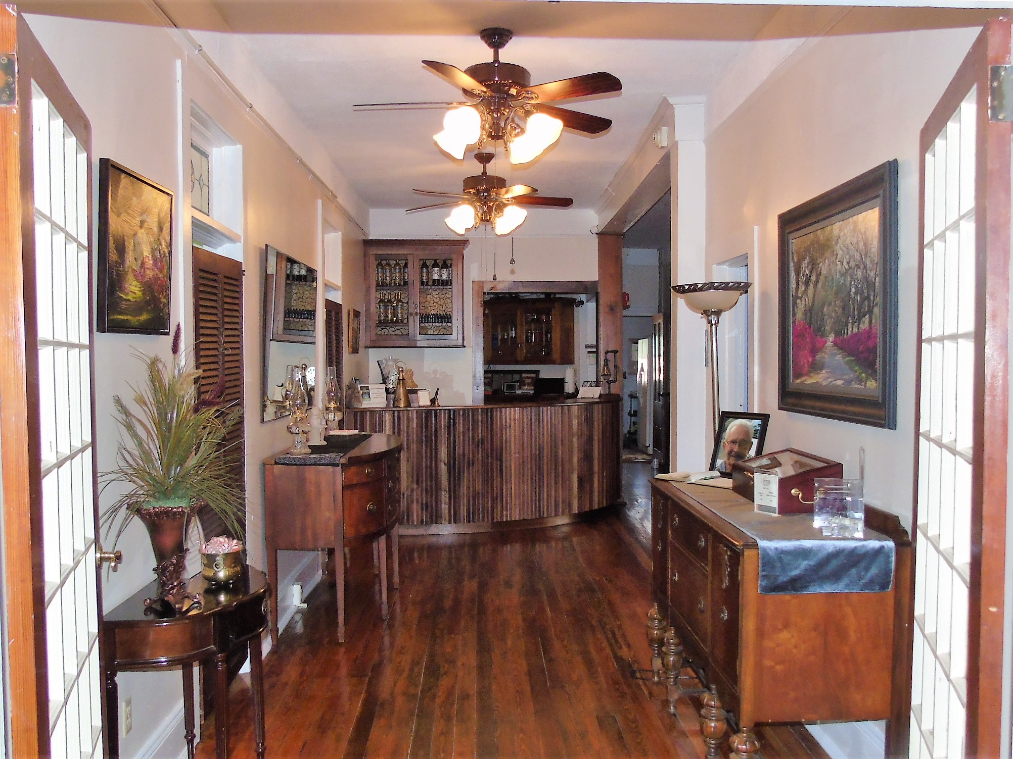 The Charleston Inn's Check-in Space with Finely Crafted Solid Walnut Inn Keeper's Counter
